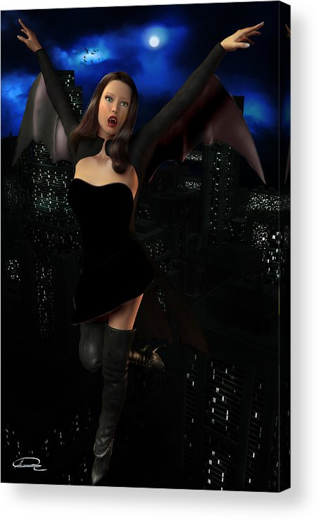 Vampire Acrylic Print featuring the painting Vampiress In The Metropolis by Emma Alvarez