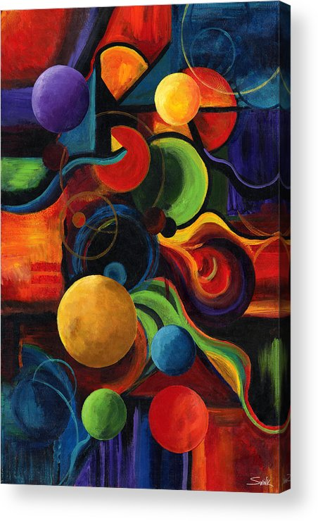 Synergy Acrylic Print featuring the painting Vertical Synergy by Laura Swink