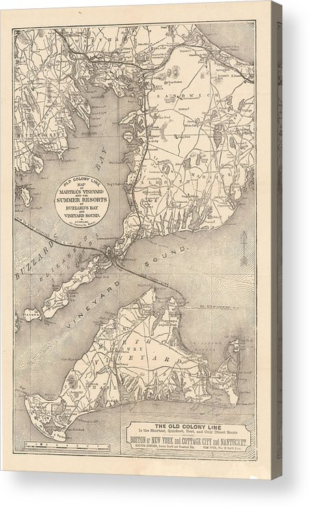 Cape Cod Acrylic Print featuring the drawing Vintage Cape Cod Old Colony Line Map by CartographyAssociates