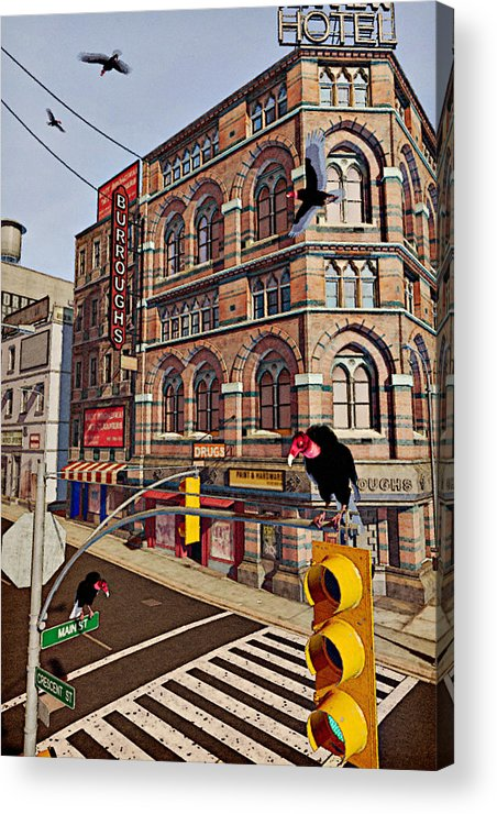 Vultures Acrylic Print featuring the painting Vultures On Main Street by Peter J Sucy