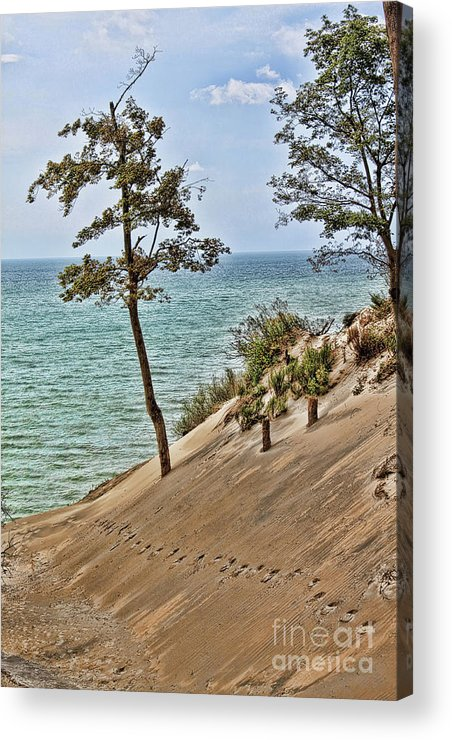 Sand Acrylic Print featuring the photograph Walking On The Edge by Cathy Beharriell