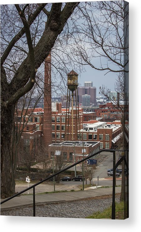 Water Tower Acrylic Print featuring the photograph Warehouses by Judy Smith