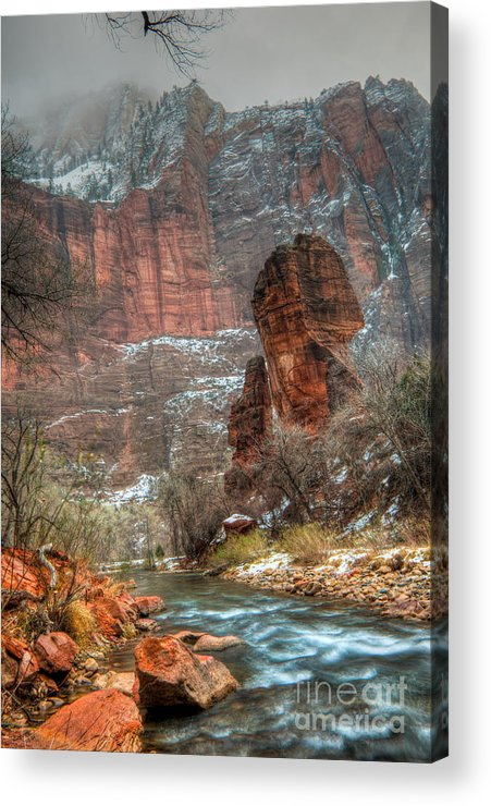 Hdr Acrylic Print featuring the photograph Waters Rushing At The Temple Of Sinawava by Irene Abdou