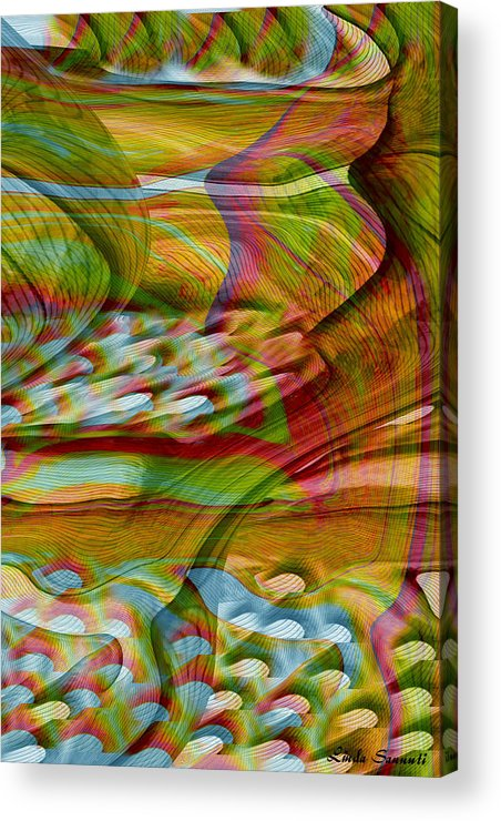 Abstracts Acrylic Print featuring the digital art Waves And Patterns by Linda Sannuti