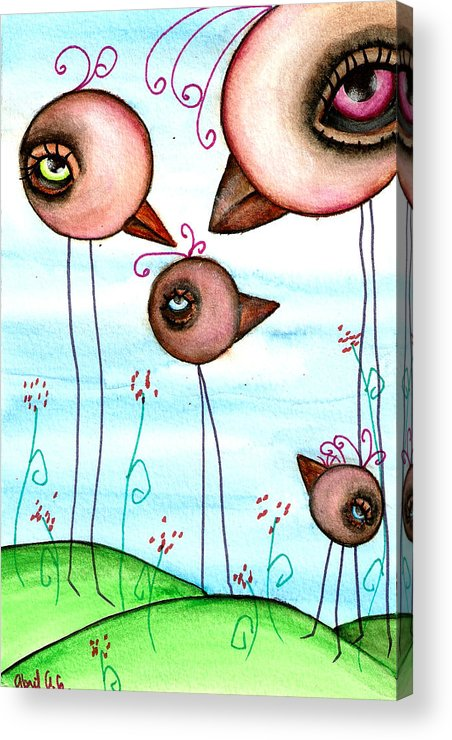 Crow Acrylic Print featuring the painting We Are Family by Abril Andrade Griffith
