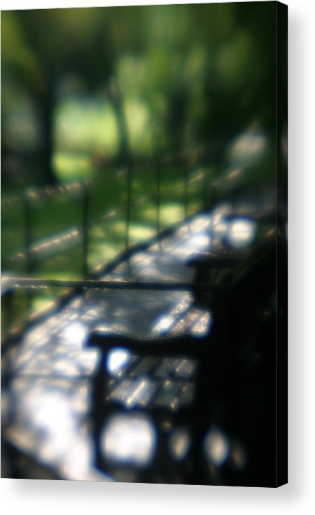 Bench In Monet's Garden Acrylic Print featuring the photograph Welcome To Monets Garden by Jennifer McDuffie