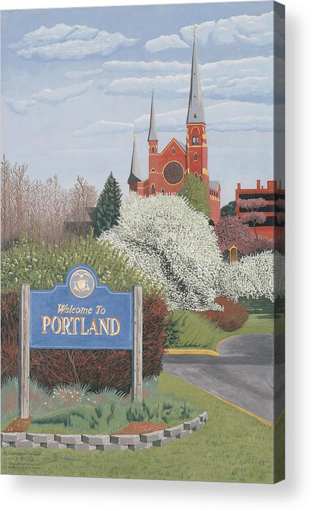 Church Acrylic Print featuring the painting Welcome To Portland by Dominic White