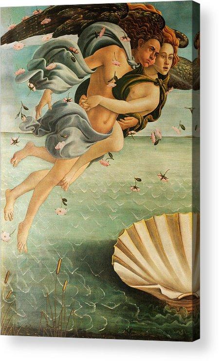 Wind God Zephyr Acrylic Print featuring the painting Wind God Zephyr by Sandro Botticelli
