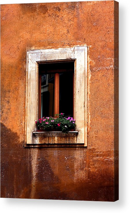 Italy Acrylic Print featuring the photograph Window And Flowers Rome by Xavier Cardell