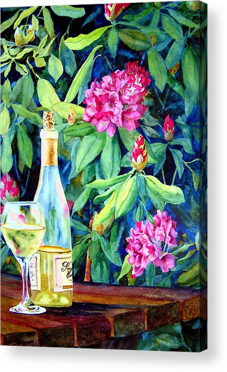 Rhododendron Acrylic Print featuring the painting Wine And Rhodies by Karen Stark