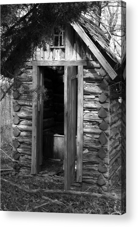 Ansel Adams Acrylic Print featuring the photograph Winslow Log Outhouse by Curtis J Neeley Jr