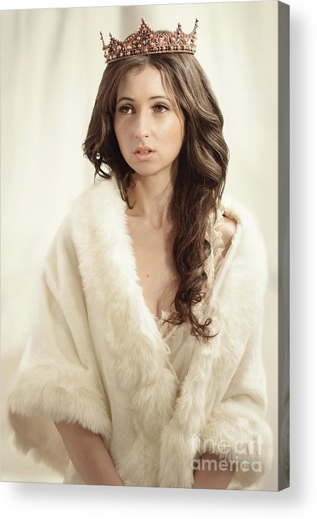 Negligee Acrylic Print featuring the photograph Woman In Fur Wrap Wearing Crown by Amanda Elwell