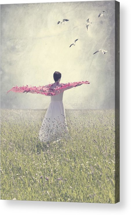Female Acrylic Print featuring the photograph Woman On A Lawn by Joana Kruse