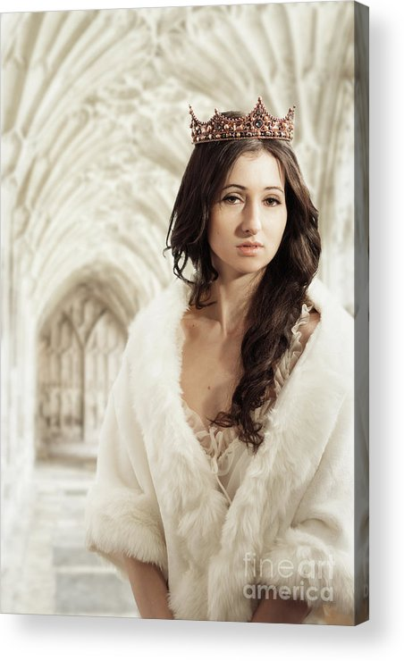 Negligee Acrylic Print featuring the photograph Woman Wearing Crown by Amanda Elwell