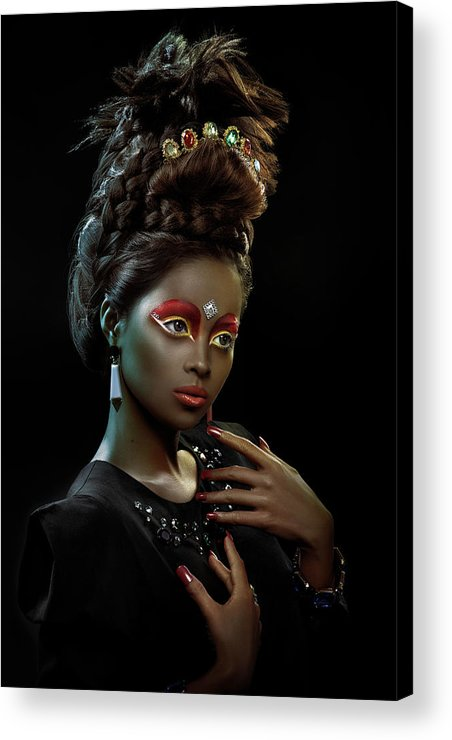Black And White Acrylic Print featuring the photograph Woman With Beehive Hairstyle And Jewelry Headdress by Erich Caparas