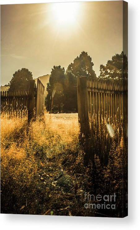 Shabby Acrylic Print featuring the photograph Wooden Fence With An Open Gate by Jorgo Photography - Wall Art Gallery