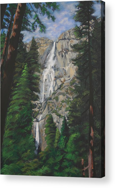Landscape Acrylic Print featuring the painting Yosemite Falls by Travis Day