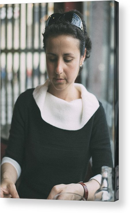 Attractive Acrylic Print featuring the photograph Young Woman In Bar by Jose Luis Agudo