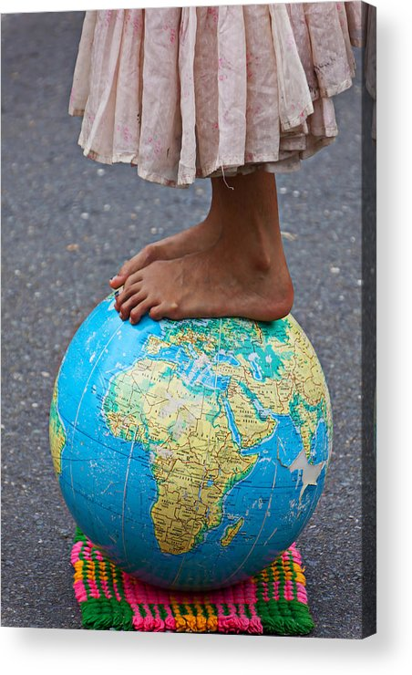 Foot Acrylic Print featuring the photograph Young Woman Standing On Globe by Garry Gay
