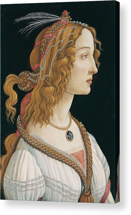 Sandro Botticelli Acrylic Print featuring the painting Portrait Of A Young Woman, Portrait Of Simonetta Vespucci As Nymph by Sandro Botticelli