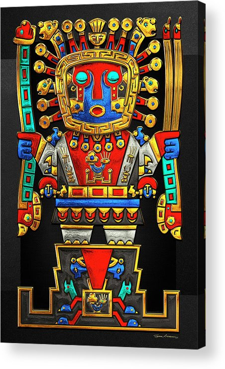 'treasures Of Pre-columbian America' Collection By Serge Averbukh Acrylic Print featuring the photograph Incan Gods - The Great Creator Viracocha On Black Canvas by Serge Averbukh
