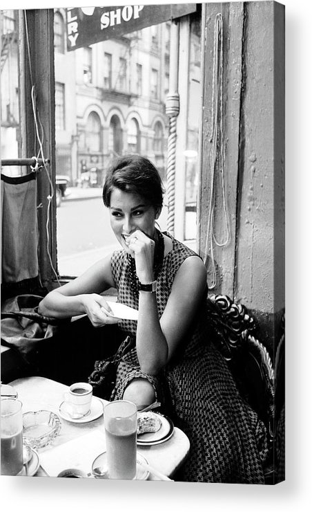 Timeincown Acrylic Print featuring the photograph Loren In New York Cafe by Peter Stackpole