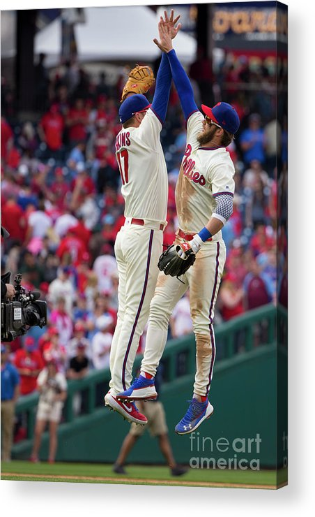 People Acrylic Print featuring the photograph Minnesota Twins V Philadelphia Phillies 1 by Mitchell Leff