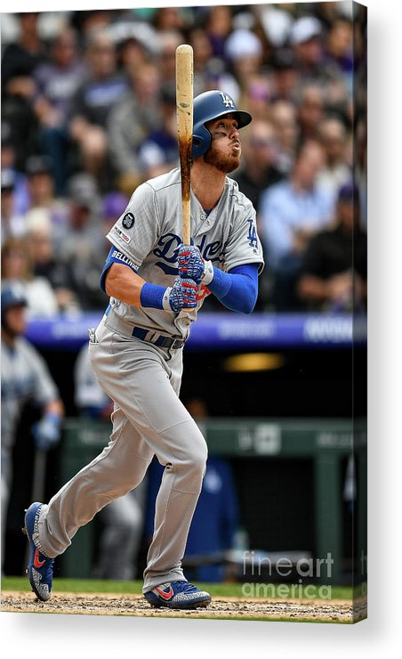 People Acrylic Print featuring the photograph Los Angeles Dodgers V Colorado Rockies 15 by Dustin Bradford