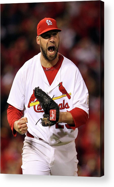 St. Louis Cardinals Acrylic Print featuring the photograph 2011 World Series Game 7 - Texas 2011 by Jamie Squire