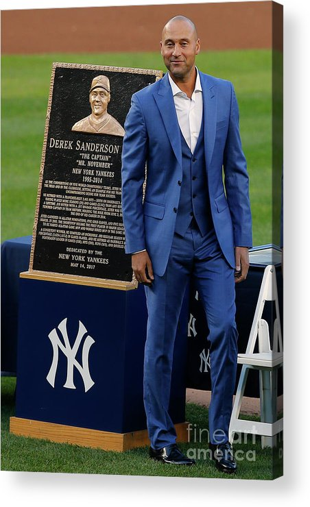 People Acrylic Print featuring the photograph Derek Jeter Ceremony 4 by Rich Schultz