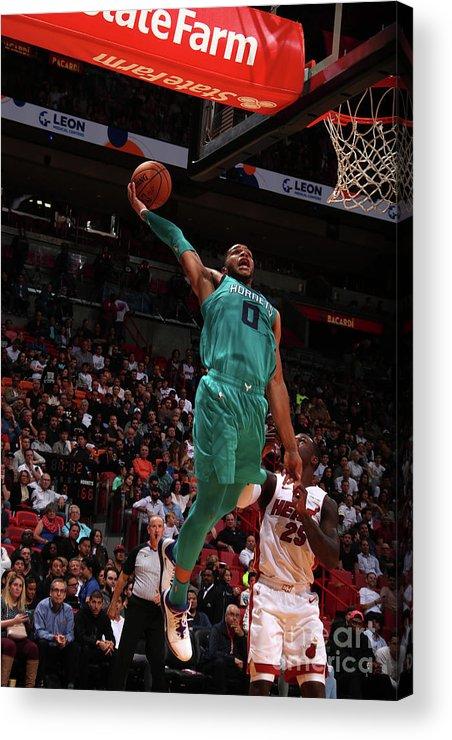 Nba Pro Basketball Acrylic Print featuring the photograph Charlotte Hornets V Miami Heat by Issac Baldizon
