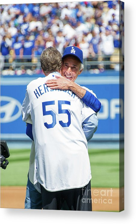 Sandy Koufax Acrylic Print featuring the photograph Celebrities At The Los Angeles Dodgers by Noel Vasquez