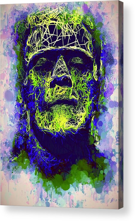 Frankenstein Acrylic Print featuring the mixed media Frankenstein Watercolor by Al Matra