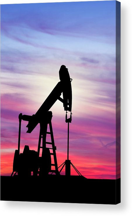Dawn Acrylic Print featuring the photograph Dawn Over Gasoline Pump by Grafissimo