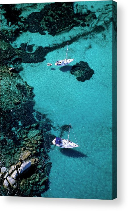 Corse-du-sud Acrylic Print featuring the photograph France, Corse Du Sud, Boats Anchored In by Rieger Bertrand / Hemis.fr