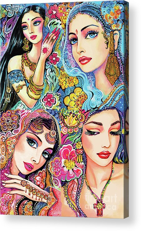 Bollywood Dancer Acrylic Print featuring the painting Glamorous India by Eva Campbell