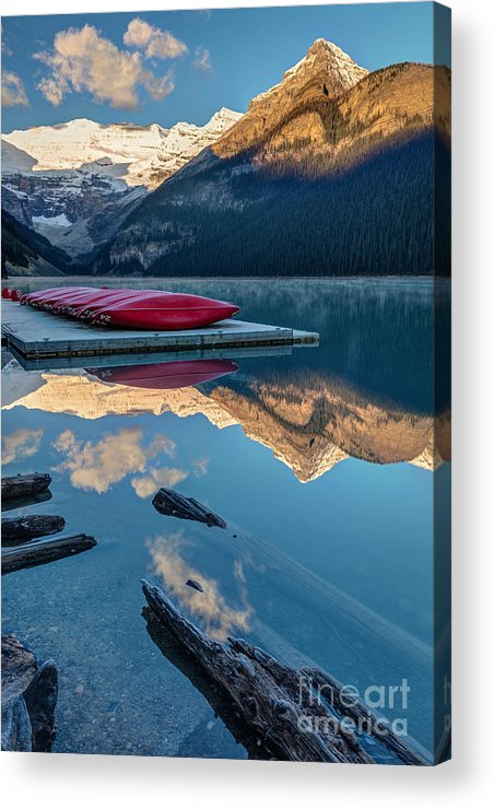 Glaciers Acrylic Print featuring the photograph Lake Louise Canoes In Banff National by Pierre Leclerc