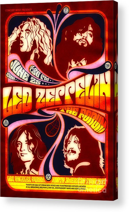 Poster Acrylic Print featuring the digital art Led Zeppelin 72 Tour by Steven Parker