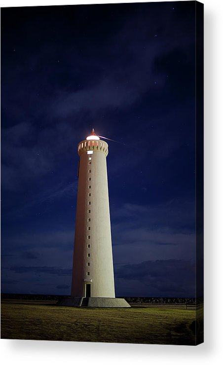 Tranquility Acrylic Print featuring the photograph Lighthouse Against Sky With Stars by Bkort Photography
