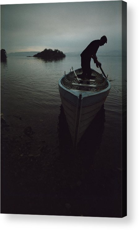 People Acrylic Print featuring the photograph Lone Rower At Shore by Epics