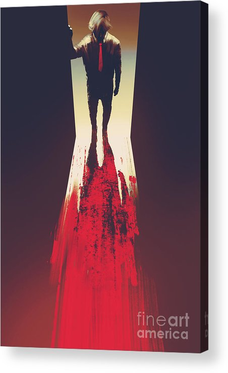 Door Acrylic Print featuring the digital art Man Standing In Front Of The by Tithi Luadthong