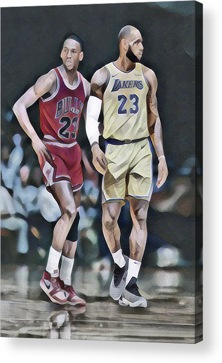 Michael Jordan Acrylic Print featuring the mixed media Michael Jordan Vs Lebron James Abstract Art 1 by Joe Hamilton