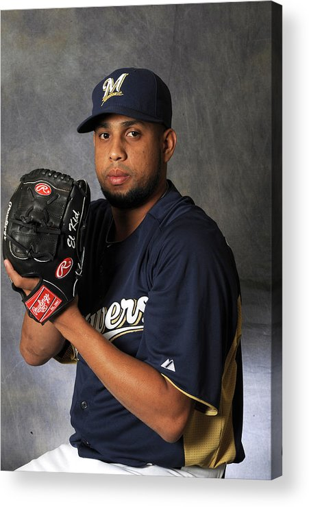 Media Day Acrylic Print featuring the photograph Milwaukee Brewers Photo Day by Rich Pilling