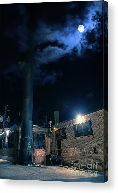 Alley Acrylic Print featuring the digital art Moon Over Industrial Chicago Alley by Bruno Passigatti