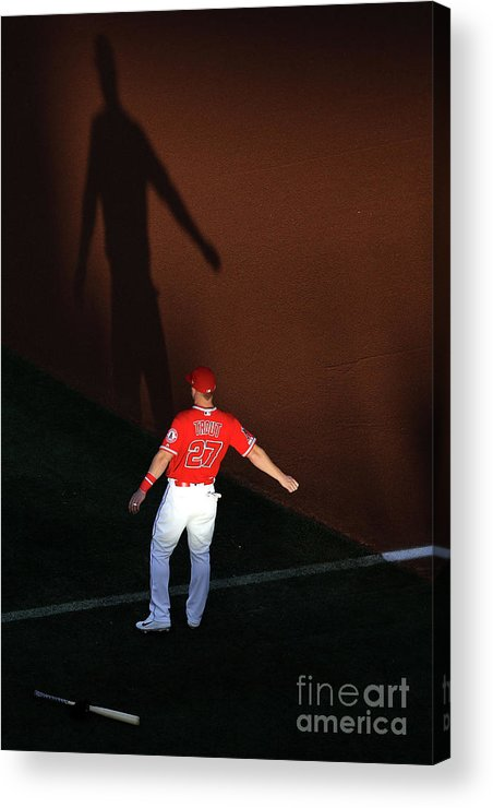 People Acrylic Print featuring the photograph Oakland Athletics V Los Angeles Angels by Sean M. Haffey