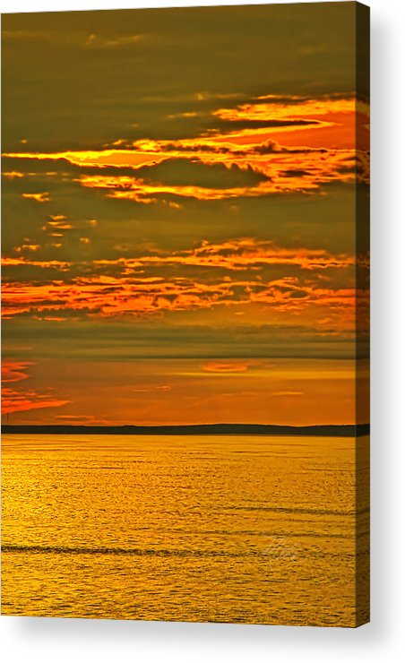 Sunset Acrylic Print featuring the photograph On Golden Pond by Meta Gatschenberger