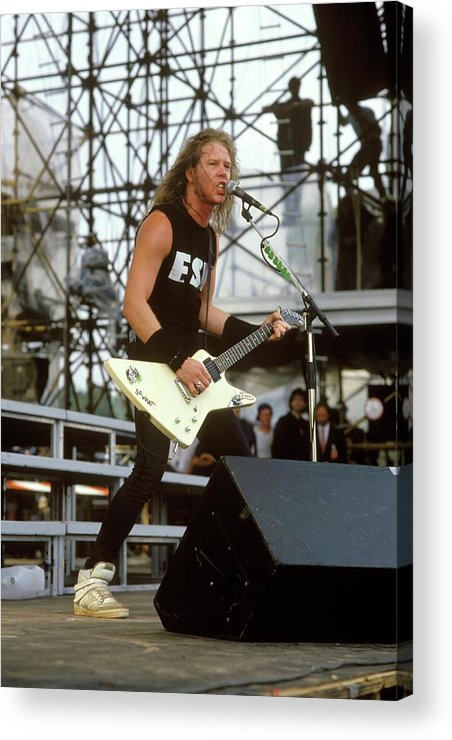 1980-1989 Acrylic Print featuring the photograph Photo Of James Hetfield And Metallica by Mike Cameron
