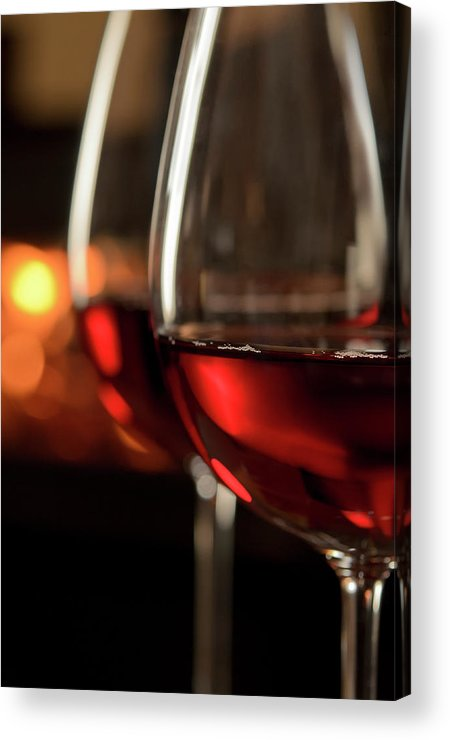 Orange Color Acrylic Print featuring the photograph Red Wine By The Fire by Nightanddayimages