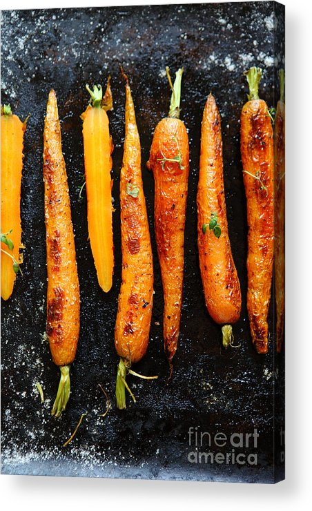 Steel Acrylic Print featuring the photograph Roasted Carrots With Spices On A Baking by Olha Afanasieva