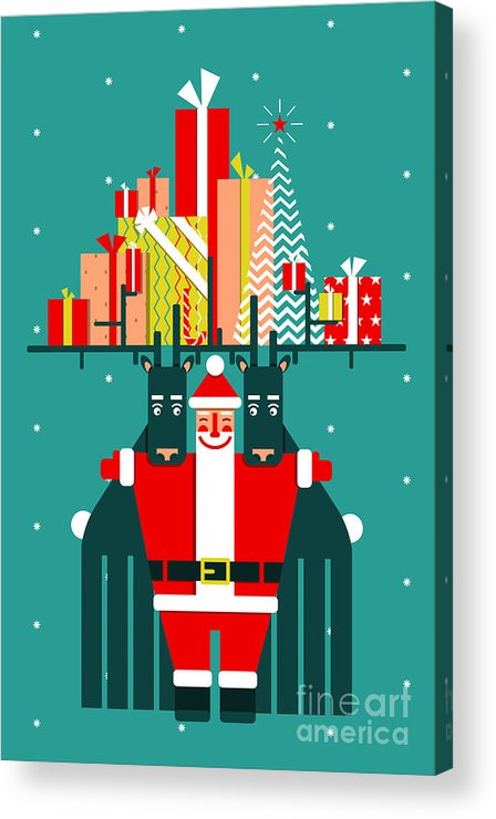 Symbol Acrylic Print featuring the digital art Santa With Deers Gifts And Presents by Popmarleo